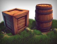 3D Stylized Crate Barrel - 3D Model