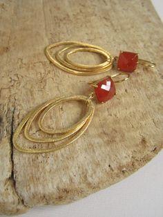 Carnelian Gold Vermeil Link Earrings Brushed by julianneblumlo, $138.00