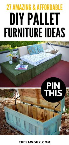 Looking for DIY Pallet Furniture Ideas? This collection of 27 creative, and amazing looking pallet projects are sure to get your juices flowing. Pallet Garden Furniture, Diy Outdoor Furniture, Diy Furniture Projects, Furniture Design, Diy Furniture With Pallets, Ideas For Wood Pallets, Diy With Pallets, Welded Furniture, Garden Pallet