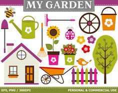 Digital Garden Clip Art Country House Garden Tools Tree Flowers Watering Can Clip Art Commercial and Personal use Clip art Bee images Ladybird images