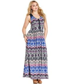 Lucky Brand Plus Size Sleeveless Printed Crochet Maxi Dress