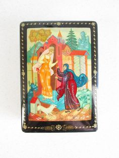 Russian SM Lacquer box Palekh Ckolzka Signed 1977 Vintage Snow White Fairy Tale
