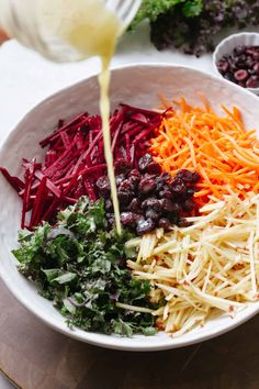 Fresh and colorful this easy vegan Apple Beet Carrot and Kale Salad is full of nutrition and flavor! Less than 10 ingredients and ready in under 15 minutes. Raw Vegan Recipes, Vegetarian Recipes, Healthy Recipes, Raw Vegan Dinners, Raw Beets, Fresh Beets, Healthy Salads, Healthy Eating, Healthy Lunches