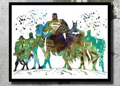 Justice+League+Aquarell++Kunst+Druck+Poster+A3+von+BogiArtPrint+auf+DaWanda.com