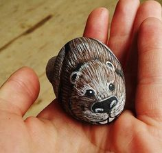 Hand-Painted Beaver Rock by PlatypusCanada on Etsy