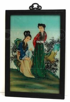 shopgoodwill.com: Vintage Chinese Women Reverse Glass Painting