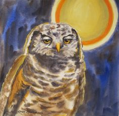 """""""Sleeping on the Job"""" $145  Watercolor and Acrylic (11"""" x 11"""" image)   I knew that I wanted 2 owls in my series. One that was wide awa..."""