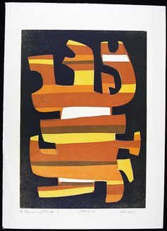 """""""Running Image"""" By Influential Jewish-American Artist Irving Amen ( Abstract Art / Etching / Woodblock Print / Mid Century Art )"""
