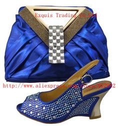 2014 Italian Shoes With Matching Bag High Quality Italy Shoes And Bag For Evening Free Shipping 1308-402 Size 38-42 blue color