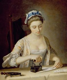 Henry Robert Morland  Woman Ironing - Notice how nice her lappets look pinned up like that