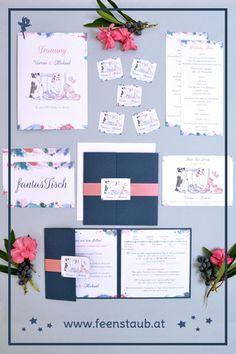 Ihr heiratet und seid auf der Suche nach kreativen, einzigartigen und individuellen Einladungskarten für eure Hochzeit? Dann seid ihr bei uns richtig. Wir entwerfen ausgefallene Hochzeitseinladungen nach euren Vorgaben. So wie hier in blau und rosa mit den Hunden des Brautpaares im Mittelpunkt. Die Hunde wurden von einem Foto abgezeichnet, die Einladung als Pocketeinladung umgesetzt.  #feenstaub #hochzeit #hochzeitseinladung #einladungskarten #hund Save The Date Karten, Pink, Fancy Wedding Invitations, Map Invitation, Thanks Card, Newlyweds, Invitation Cards, Getting Married, Switzerland