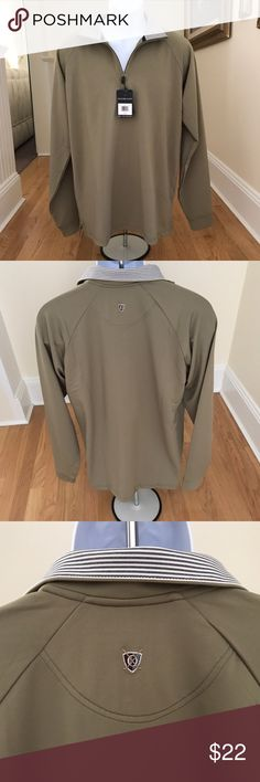 """Oxford Golf Half Zip Long Sleeve Pullover Sz. Med. New With Tags. Long Sleeve V-Neck Half Zippered Performance Pullover In Khaki Green. Super Dry With Moisture Wicking. The Collar Is Gray And White Striped With Navy Piping Trim. Armpit To Armpit 21"""". Shoulder To Base 28"""". 89% Polyester, 11% Spandex. Machine Wash Cold. DoNot Add Softener. Oxford Golf Shirts"""