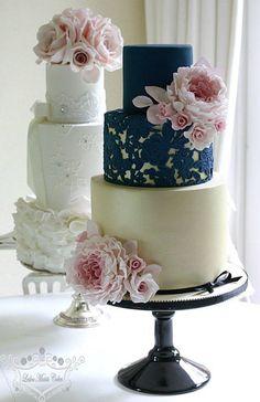 Leslea Matsis' Navy Lace and Gold Wedding Cake - Mon Cheri Bridals 3 Tier Wedding Cakes, Elegant Wedding Cakes, Beautiful Wedding Cakes, Wedding Cake Designs, Beautiful Cakes, Lace Wedding, Elegant Cakes, Purple Wedding, Wedding Dresses