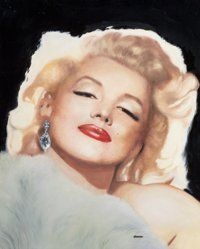 RON LESSER (American, 20th Century) Marilyn Oil on masonite 31 x 25 in. Signed lower center
