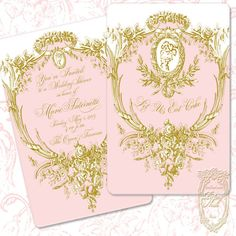 Marie Antoinette Pink and Gold Cartouche Silhouette Invitations Includes Custom Type Set 10 Invitations Minimum. $52.50, via Etsy.