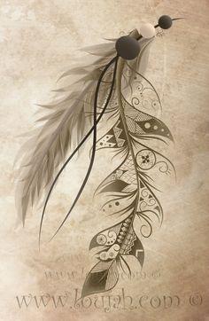 LouJah - Bohemian Feathers #art #loujah #digital #illustration #draw #drawing #dessin #boho