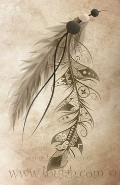 LouJah - Bohemian Feathers #art #loujah #digital #illustration #draw #drawing #dessin #boho