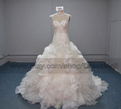 High Neck Backless Ball Gown Wedding Dress 2014 Chapel Train Open Back Beaded Ruffles Bridal Gown on Etsy, $439.99