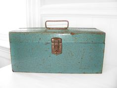 Industrial Green Tool Box by VintageRetroDesign on Etsy