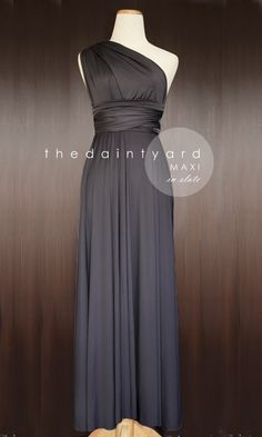 Maxi Length Slate Bridesmaid Convertible Dress Infinity Dress Multiway Wrap Dress Prom Maxi Long Dress Dark Grey Gray Charcoal Floor Length by thedaintyard on Etsy https://www.etsy.com/listing/155733737/maxi-length-slate-bridesmaid-convertible
