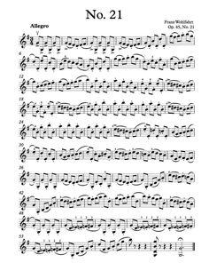 Free Violin Sheet Music - Wohlfahrt Etude Op. 45, No. 21