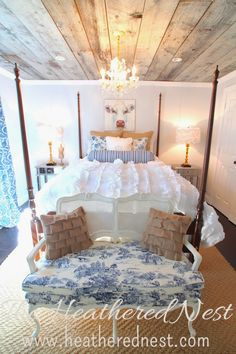 bedroom - love the touches of the toile fabric yet mixed fabrics help give a modern feel