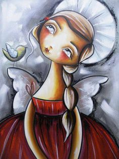angel. Art And Illustration, Angel Drawing, I Believe In Angels, Angel Art, Mixed Media Canvas, Gravure, Pictures To Paint, Beautiful Paintings, Painting Inspiration