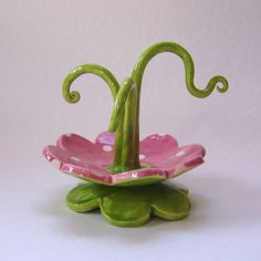 $38  Whimsical ceramic Ring Tree ring holder ring dish by maryjudy