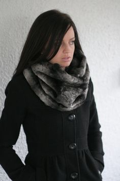 Black and Grey Faux Fur Infinity Scarf