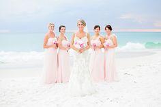 pink wedding ceremony in panama city beach florida by princess wedding co