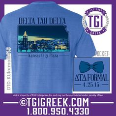 TGI Greek - Delta Tau Delta - Formal - Comfort Colors - Bow Tie - Greek T-shirts - The University of Kansas - Greek Apparel