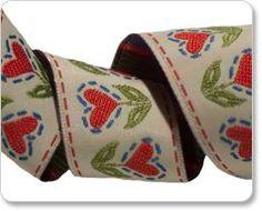 Swedish Dala Heart Flower Embroidered Ribbon by Cherish Flieder