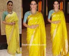 Kangana-Ranaut-in-Raw-Mango-Saree.jpg (999×821)