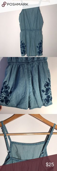 Romper denim color Target romper, only worn once! Super cute and has adjustable straps. Basically brand new I will iron before shipment Mossimo Supply Co Other
