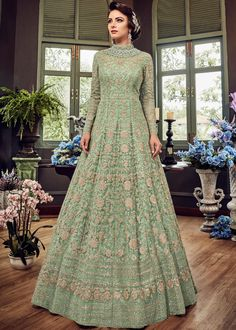 30fb1a174e Mint Green Designer Heavy Embroidered Net Bridal Anarkali Gown
