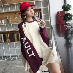 韓国ファッション原宿 色切り替え袖ロゴプリント 長袖 Tシャツ トレーナー