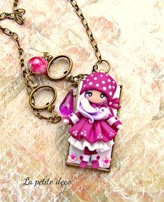 winter doll neckalce handmade with polimerclay