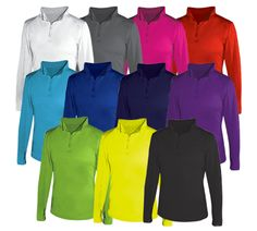 """94% Polyester/ 5% spandex moisture management/ antimicrobial fabric Self-fabric collar with 7"""" locking zipper Badger Sport paneled s 
