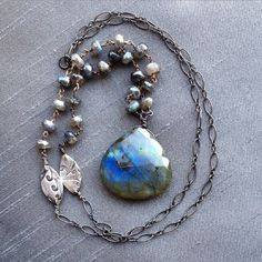 Labradorite Pendant Oxidize Sterling Silver Handmade