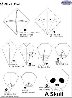 Calavera origami - Halloween Plus