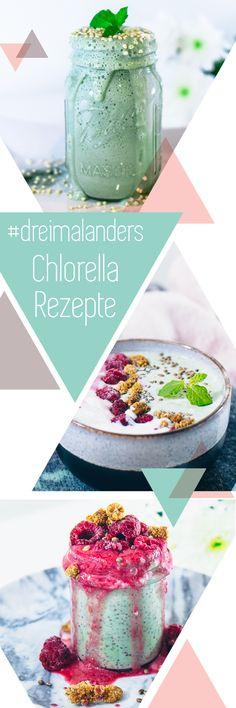 mintfarbener smoothie aus chlorella banane joghurt und milch