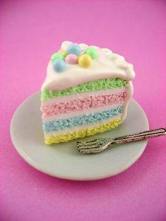 Springtime Soft Pastel Rainbow Cake Slice by monsterkookies, $27.00
