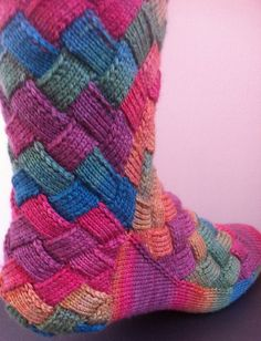 DIY Rainbow Color Patch Entrelac Knitting Socks with Patterns…