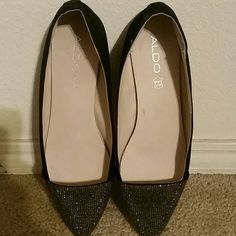 Black Flats Aldo brand flats with rhinestone tip in great condition, used once. ALDO Shoes