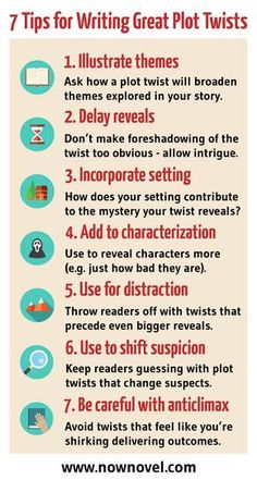 Read the full post for examples and tips. Tips for writing, tips for writing plot twists, writing tips, writing inspiration. Creative Writing Tips, Writing Prompts For Writers, Book Writing Tips, Writing Promps, Writing Characters, Writing Words, Fiction Writing, Writing Resources, Start Writing