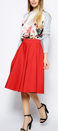 Gorgeous red midi skirt - Holiday Must-have for the Hostess with the Mostess http://rstyle.me/n/tndmen2bn