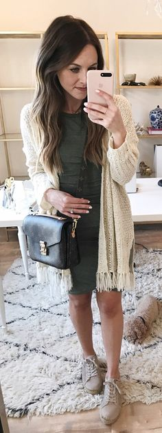 #spring #outfits  Ivory Fringe Cardigan & Olive Dress