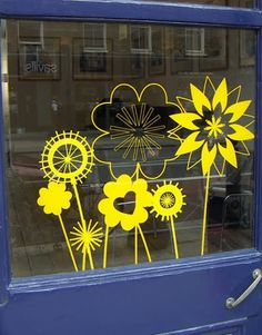 Great shop window - floral cut outs Spring Window Display, Shop Window Displays, Store Displays, Retail Displays, Merchandising Displays, Window Signs, Window Art, Window Decals, Store Front Windows