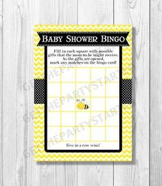 BABY SHOWER BINGO Game Cards