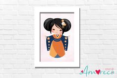 Quadro Infantil Japonesinha no Elo7   Ateliê Amoreco (E95614)